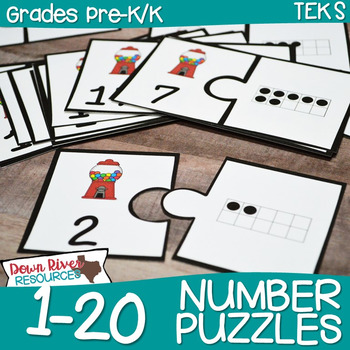 Gumball Number Puzzles 1-20 (Numeral & Ten Frames)