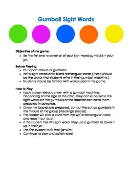 Gumball Sight Word Game