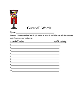 Gumball Sight Word Game - set 1 (Pam and Sam)
