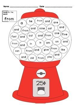 Gumball Sight Words 1st grade