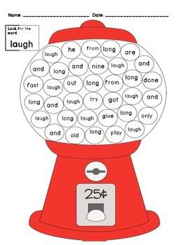 Gumball Sight Words Grade 3