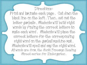 Gumball Sight Words- Scott Foresman Kindergarten