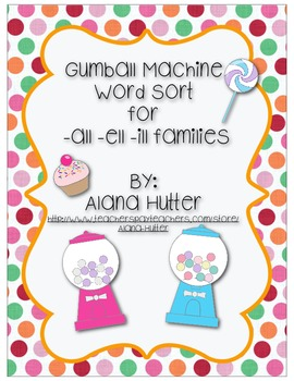 Gumball Sort! -all, -ell, ill words