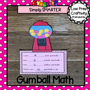 Gumball Themed Cut and Paste Counting and Computation Math Craftivity