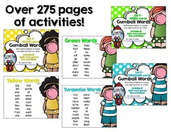 Gumball Words BUNDLE 2!  Common Core Word Activities