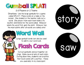 Gumball Words - List 11: Black Common Core Sight Word Activities