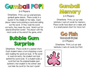 Gumball Words - List 7: Purple Common Core Sight Word Activities