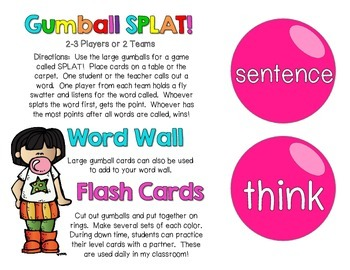 Gumball Words - List 8: Pink Common Core Sight Word Activities