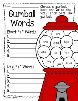Gumball Words Vowel Sounds