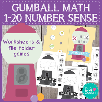Gumball numbers 1-20 - worksheets and file folder games