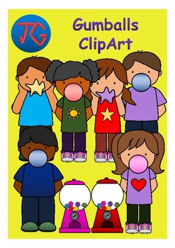 Gumballs and Kids Clip Art