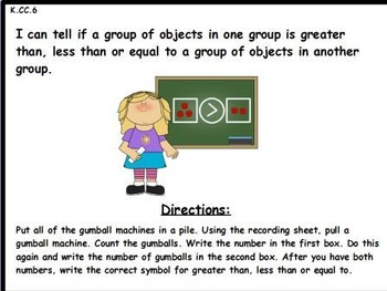 Gumballs Galore- Greater Than, Less Than or Equal TO: Math