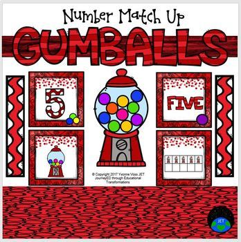 Gumballs Number Match Up Math Center
