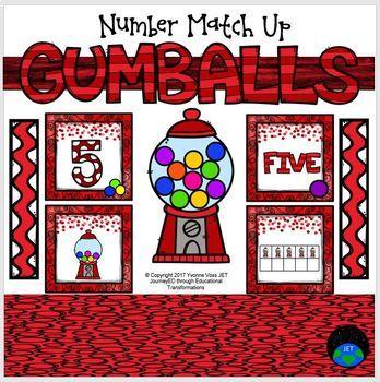 Gumballs Number Match Up Math Center