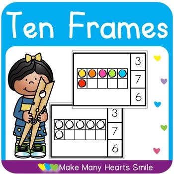 Gumballs Ten Frames Clip Cards