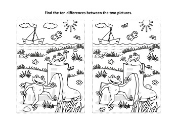 Gumboots Find the Differences and Coloring Page, Commercial Use Allowed