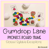 Gumdrop Lane Phonics Board Game: Closed Syllable Exception
