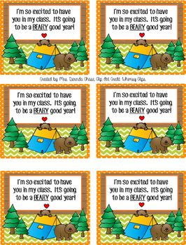 Gummy Bear Back To School Tag - Camping/Woodland Theme