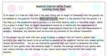 Gummy Bear Catapult - Quadratic Functions Project