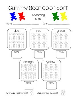 Gummy Bear Color Sort Recording Sheet
