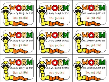 Gummy Worm Testing Motivation Treat Tags