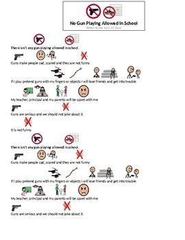 Gun Play Not Allowed In School Social Story