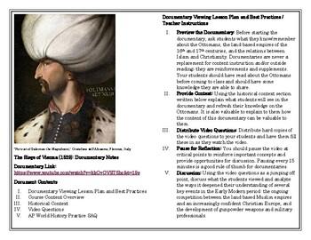 AP World History Documentary Worksheet, Gunpowder Empires, Unit 3