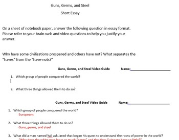 guns germs and steel teaching resources teachers pay teachers  guns germs and steel episode 1 questions essay