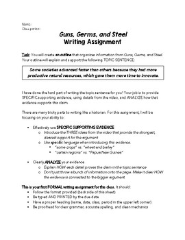 Guns, Germs, and Steel Writing Assignment