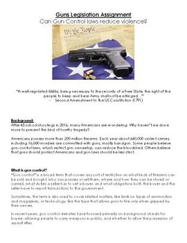 Guns Legislation- 2nd Amendment: Can Gun Control laws reduce violence?- Project!