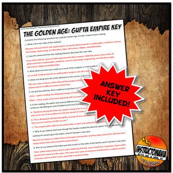 Gupta Empire The Golden Age Common Core Literacy & Writing Activity