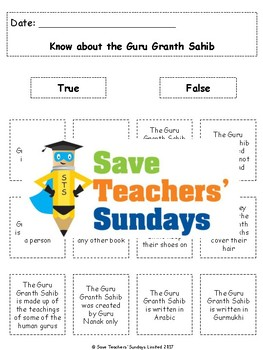 Guru Granth Sahib Lesson plan and Worksheets (with links to videos)