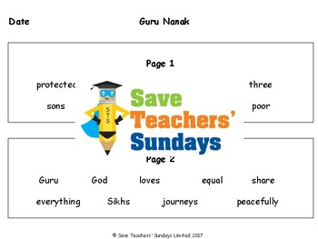Guru Nanak Lesson plan and Worksheets (with links to videos)