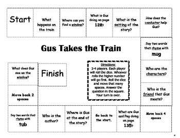 """""""Gus Takes The Train"""" Comprehension Game Board- Journeys story 1st grade"""