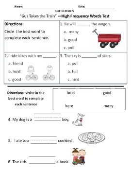 Gus Takes the Train- Vocabulary & Comprehension Test/Quiz (Journeys)