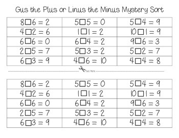 Gus the Plus and Linus the Minus Cut and Paste Math Workstations