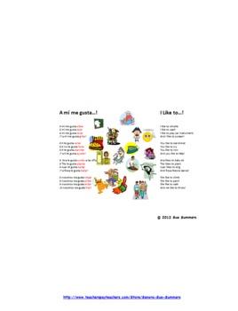 Gusta + Infinitive & Gustar Verbs Song Chant Rhyme - Notebook Software