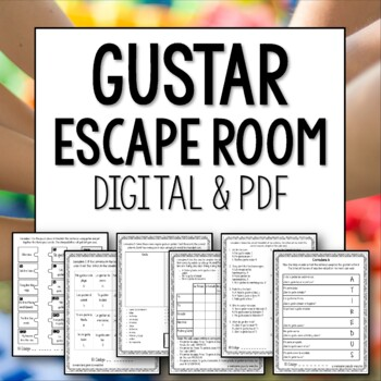 Gustar Break Out Room Spanish Review Activity Escape Puzzle Game