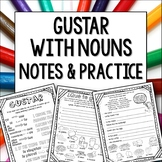 Gustar with nouns Doodle Pages Worksheets and Notes for middle school spanish