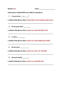 Gustar : Students explain when to use forms of Gustar