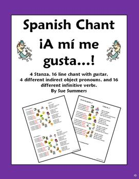 Spanish Gustar, Infinitive Verbs, and Indirect Object Pronouns - Song Chant Poem