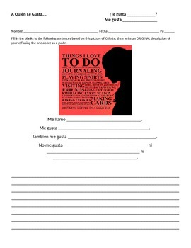 Gustar Human Bingo + Writing Practice
