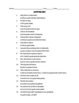 Gustar Notes & Worksheet