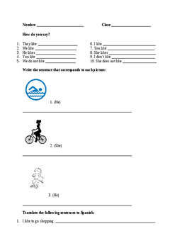 Gustar Practice Worksheet