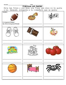 Gustar Practice Worksheet