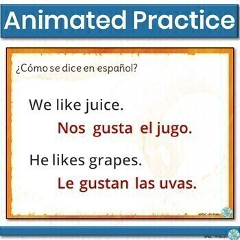 Gustar (like): with nouns - Animated, interactive PowerPoint Spanish practice