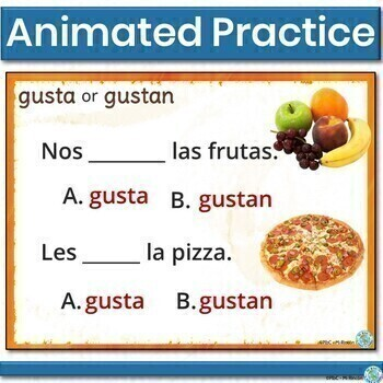 Gustar with Nouns Practice (Spanish): - Animated, interactive PowerPoint