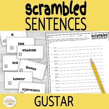 Gustar Scrambled Sentences Activity