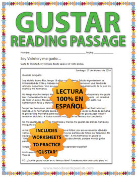 Gustar Spanish Reading Passage and Worksheets