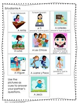 Gustar Spanish Speaking Activity